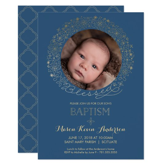 Baptism, Christening Photo Invitation, Boys Invite