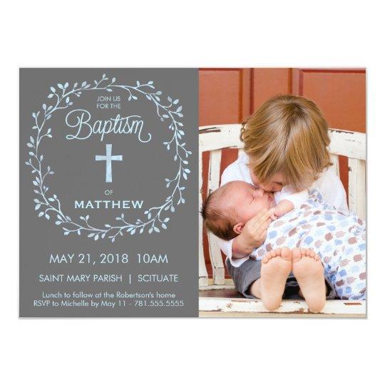 Baptism, Christening Phto Invitation - Boys Invite