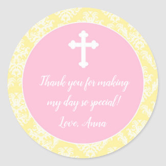 Baptism Christening Pink Yellow Gift Favor Label