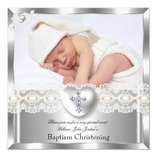 Baptism Cream Silver Photo Heart Cross Boy Girl