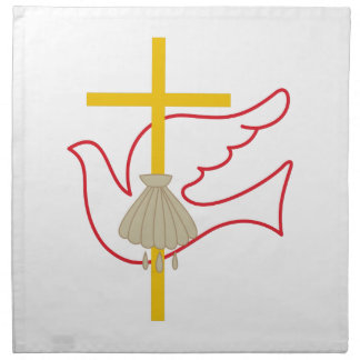 Baptism Cross & Dove Printed Napkin