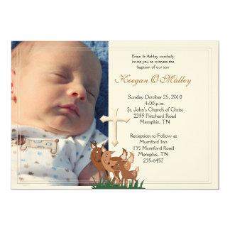 "Baptism Dedication 5x7 Photo Deer Family Invite 5"" X 7"" Invitation Card"