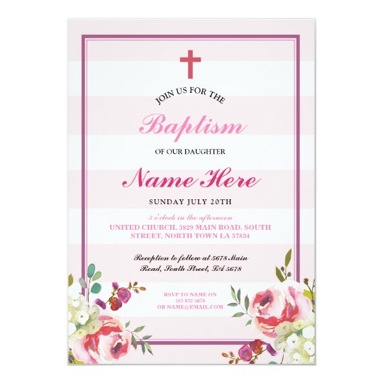 Baptism Floral Pink Stripe Girl's Invitation