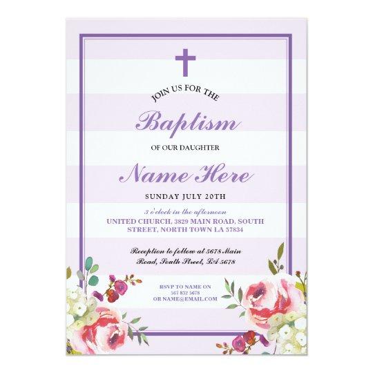 Baptism Floral Purple Stripe Girl's Invitation