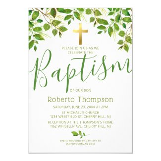 Baptism Gender Neutral Botanical Christening Invitation