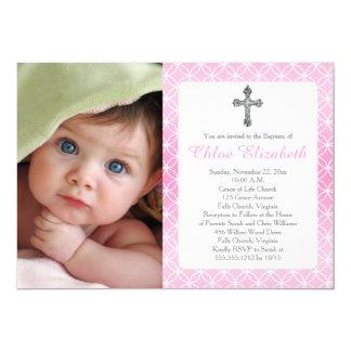 Baptism   Girl Eternity Rings Crosses Photo 13 Cm X 18 Cm Invitation Card