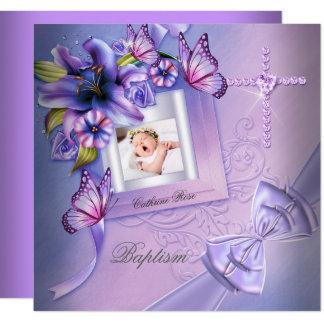Baptism Girl Pink Purple Photo Christening Card