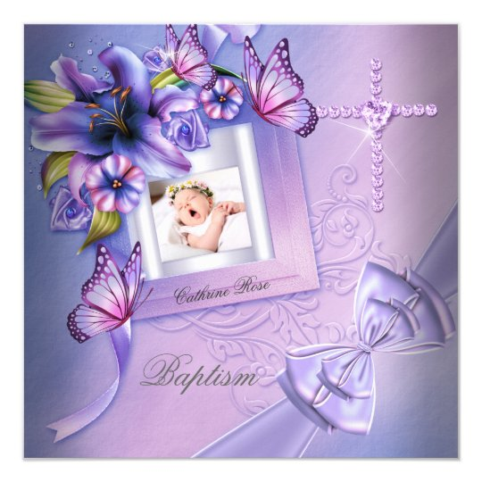 Baptism Girl Pink Purple Photo Christening Card