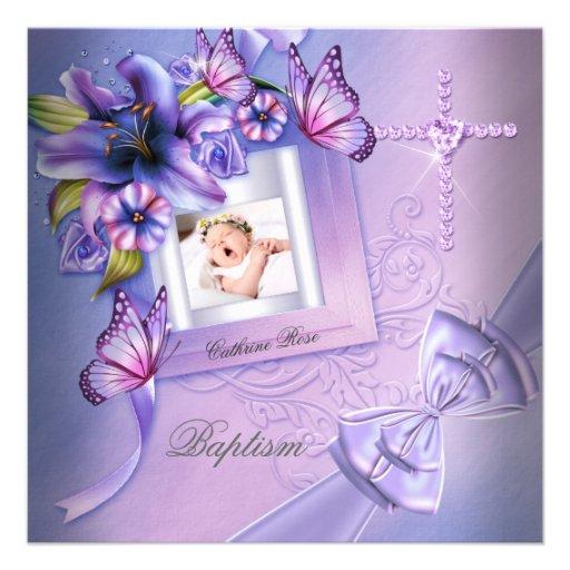 Baptism Girl Pink Purple Photo Christening Custom Invites