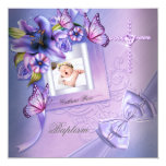"Baptism Girl Pink Purple Photo Christening 5.25"" Square Invitation Card"