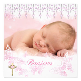 Baptism Girl Pink Silver Butterfly Cross 13 Cm X 13 Cm Square Invitation Card
