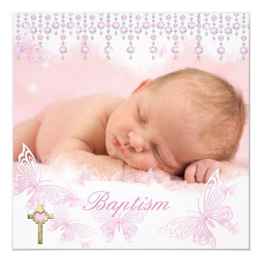 Baptism Girl Pink Silver Butterfly Cross Card
