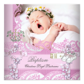 Baptism Girl Pink White Photo Christening 13 Cm X 13 Cm Square Invitation Card