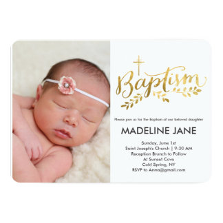 Baptism Gold Foil Leaves 13 Cm X 18 Cm Invitation Card