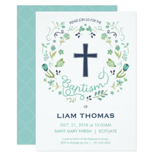 Baptism Invitation - Boy - Customise - with Cross