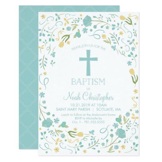 Baptism Invitation, Christening Invite, Boy, Cross Card