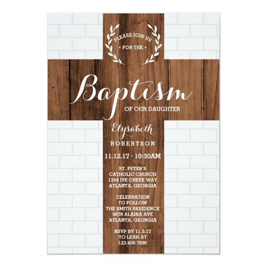 Baptism Invitation, Cross, Christening, Dedication Card