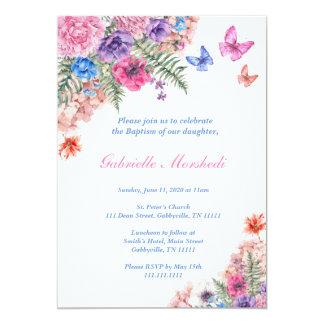 Baptism Invitation, Floral Baptism, Boho Invite