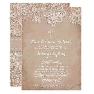 Baptism Invitation, Girl, Vintage Pink Card