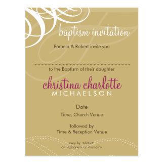 BAPTISM INVITE :: designer vogue 5 Postcard