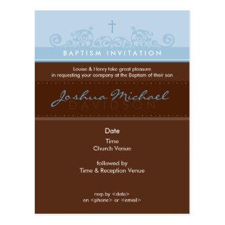 BAPTISM INVITE :: elegant 3 Postcard