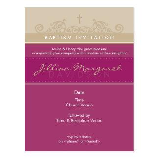 BAPTISM INVITE :: elegant 4 Postcard