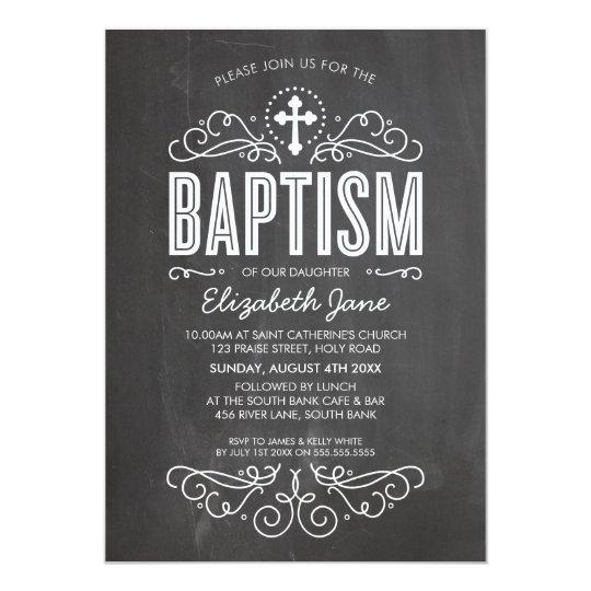 BAPTISM INVITE elegant flourish chalkboard grey