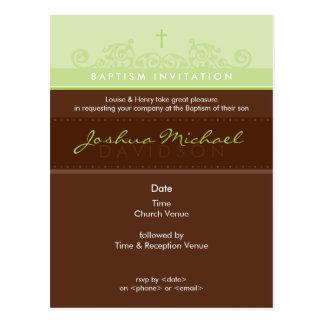 BAPTISM INVITE POSTCARD :: elegant 1P