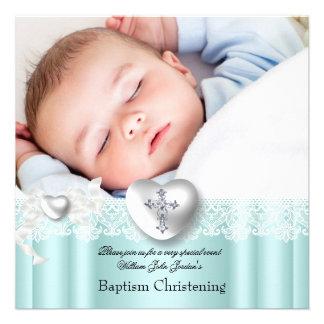 Baptism Mint Blue Lace Photo Heart Cross Boy Girl Custom Invites