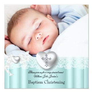 Baptism Mint Blue Lace Photo Heart Cross Boy Girl 13 Cm X 13 Cm Square Invitation Card