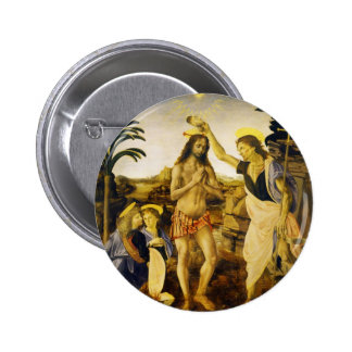 Baptism of Christ by Da Vinci and Verrocchio 6 Cm Round Badge