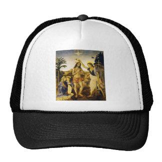 Baptism of Christ by Da Vinci and Verrocchio Trucker Hats