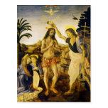 Baptism of Christ by Da Vinci and Verrocchio Postcard