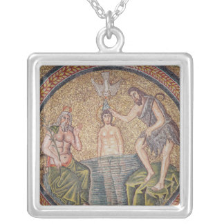 Baptism of Christ by John the Baptist Silver Plated Necklace