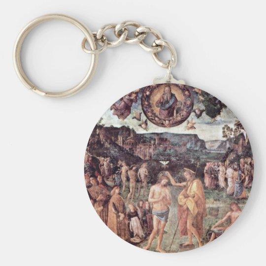 Baptism Of Christ By Perugino Pietro Basic Round Button Key Ring