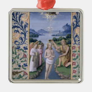 Baptism of Christ Silver-Colored Square Decoration