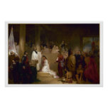 Baptism of Pocahontas Vintage Art Print Poster