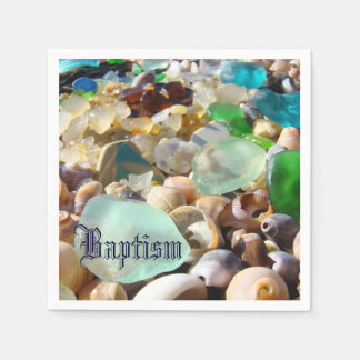 Baptism party celebration paper napkins Seaglass