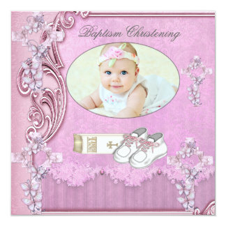 Baptism Pink Cross Girl Photo christening 2 13 Cm X 13 Cm Square Invitation Card