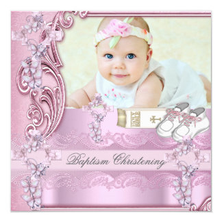 Baptism Pink Cross Girl Photo christening Card