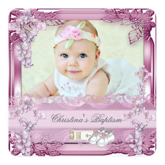 Baptism Pink Cross Girl Photo christening Floral 13 Cm X 13 Cm Square Invitation Card