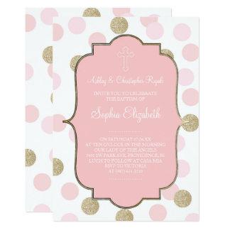 Baptism Pink Faux Gold Glitter Polka Dot Invite