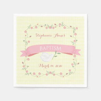 Baptism Pink Floral Wreath Disposable Napkins