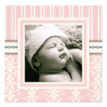 Baptism Pink Vintage Damask Photo Invitation
