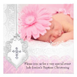 Baptism Pink White Lace Photo Jewel Cross Girl Custom Announcements