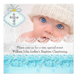 Baptism Teal Blue White Lace Photo Jewel Cross Boy Personalized Invitation