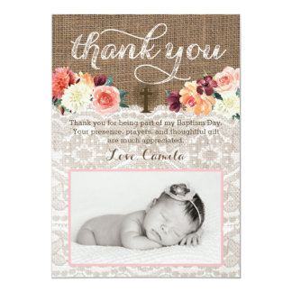 Baptism Thank You Cards with horizontal photo