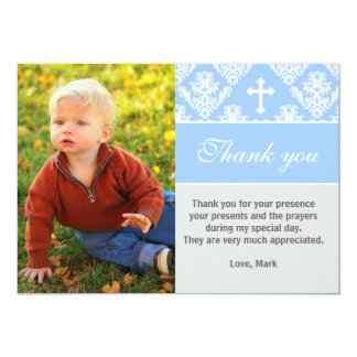 Baptism Thank You Note Custom Photo Card Blue