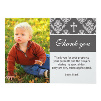 Baptism Thank You Note Custom Photo Card Grey