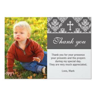 Baptism Thank You Note Custom Photo Card Grey 13 Cm X 18 Cm Invitation Card